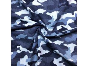Bavlnený úplet maskáč sivo-modrý
