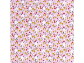 Bavlnený úplet zajačikovia na ružovej