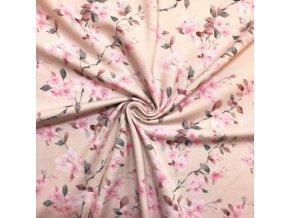Bavlnený úplet rozkvitnuté ružové vetvičky na smotanovej