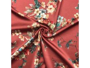 Umelý hodváb / Silky kvety na vetvičkách na tehlovej