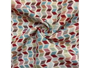 Bavlna režná žakárová - farebné kosodĺžniky