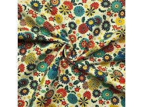 Bavlnené plátno farebné trsy kvetín