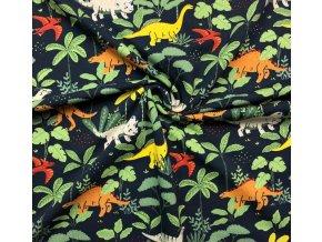 Teplákovina GOTS dinosaury v pralese na tmavomodrej