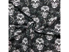 Teplákovina GOTS lebky a ornamenty na čiernej