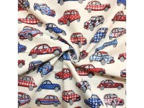 Bavlnené Deudeuche autíčka modré a červené