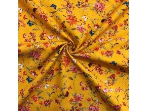 Bavlnené plátno motýle a lúčne kvety na horčicovej