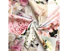 Bavlnené plátno vysokogramážne patchwork kvety