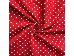 Bavlnené plátno biele bodky 0,7 cm na červenej