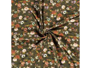 Bavlnený úplet kvetinové trsy na khaki