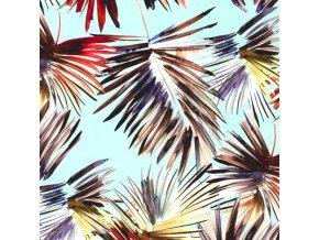 Bavlnený úplet palmové listy na mätovej