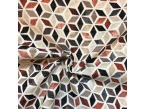 Bavlna režná hnedé kosodĺžniky