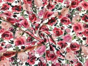 GOST teplákovina jemne počesaná záhradné kvety na bielej