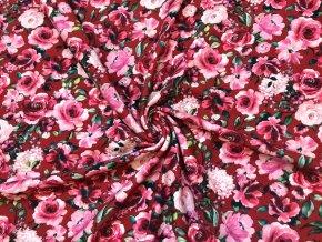 GOST teplákovina jemne počesaná záhradné kvety na červenej