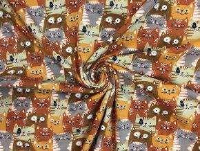 Bavlnený úplet mačky hrdzavé