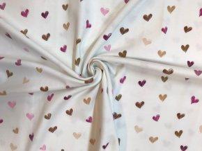 Bavlnený úplet ružovo-hnedé srdiečka