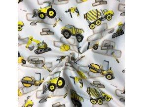 Bavlnený satén žlté stavebné autá