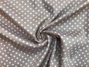 Bavlnená tkanina strečová biele bodky na latté