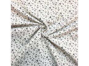Bavlnené plátno čierne kytičky na bielej