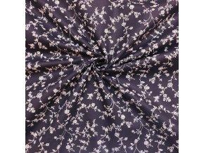 Bavlnené plátno popínavé vetvičky na tmavej tmavomodrej
