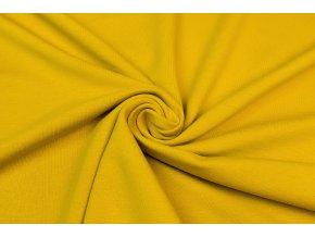 Teplákovina elastická GOTS horčica 250 g/m2