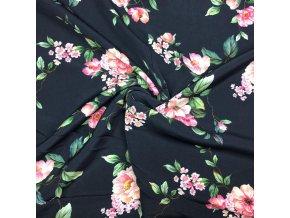 Umelý hodváb / Silky Kvety na tmavomodrej