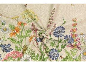 Bavlna režná obojstranná bordúra lúčne kvety s motýľmi a vtáčikmi na REŽNEJ