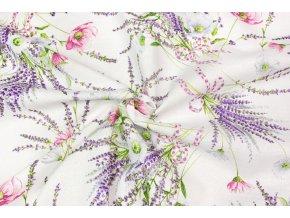 Bavlna režná kytice levandule s kvietkami