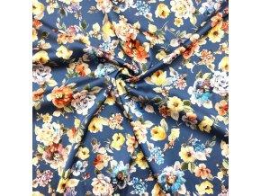 Umelý hodváb / Silky kvety farebné na modrej
