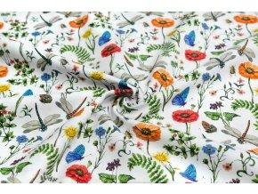 Bavlnené plátno kvety, motýle a vážky