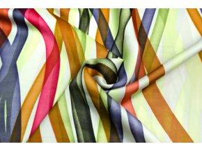 Umelý hodváb / Silky pozdĺžne zeleno-fialové pruhy