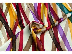 Umelý hodváb / Silky pozdĺžne bordovo-oranžové pruhy
