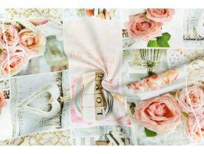 Bavlna režná ruže vo štvorcoch