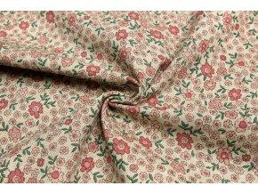Bavlna režná ružové malé kvetinky