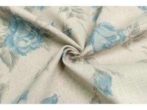 Bavlna režná veľké modré kvety