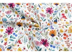 Bavlnené plátno pestrofarebná lúka