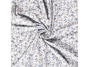 Bavlnený úplet modré kvetinky