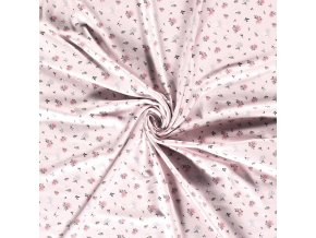 Bavlnený úplet malé ružičky s lístkami na bledoružovej