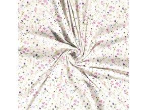 Bavlnený úplet lúčne kvety s čmeliakmi