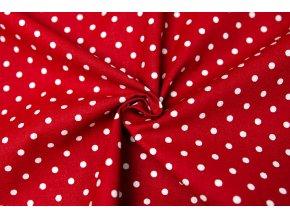 Bavlnené plátno biele bodky 0,5 cm na tmavočervenej