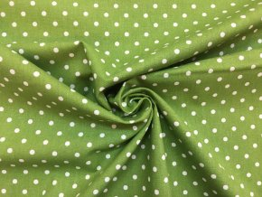 Bavlnené plátno biele bodky 0,5 cm na trávovej zelenej