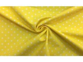 Bavlnené plátno biele bodky 0,5 cm na žltej