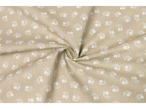 Bavlnené plátno kvietky biele na hnedej