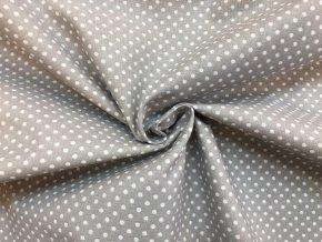 Bavlnené plátno bodky na strednej sivej