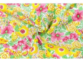 Bavlnené plátno žlté a ružové kvety