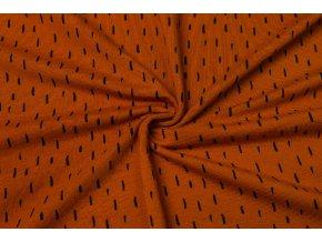 BIO Bavlnený úplet čierne čiarky na hrdzavej