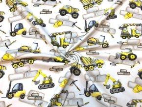 Teplákovina žltá stavebné autá