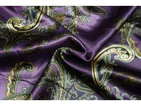 Umelý hodváb / Silky Armani fialový melír so zlatými kašmírovými ornamentmi
