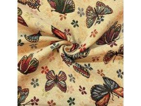 Bavlna režná žakár motýle