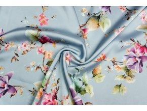 Umelý hodváb / Silky kvety na vetvičkách na sivomodrej