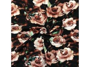 Bavlnený úplet maľované ruže na čiernej